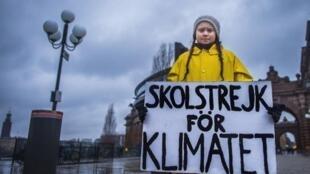 Greta Thunberg manifestando ante el Parlamento de Estocolmo, el pasado 30 de noviembre de 2018.