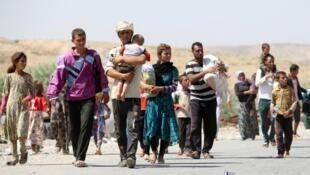 """عائلات إيزيدية هاربة من تنظيم """"الدولة الإسلامية"""" في العراق"""