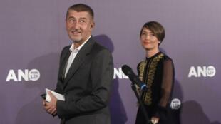 Le milliardaire tchèque Andrej Babis au siège de son parti, l'ANO, le 21 octobre 2017 à Prague.