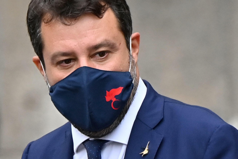 Le sénateur italien Matteo Salvini, chef de file de l'extrême droite italienne, à Catane en Sicile le 3 octobre 2020