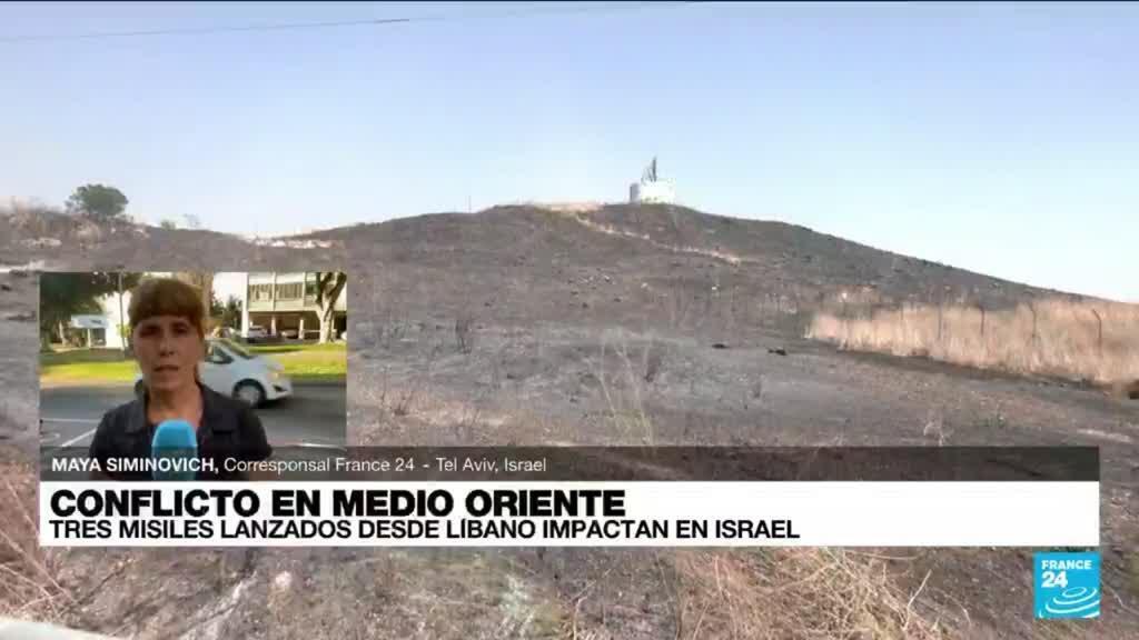 2021-08-04 19:05 Informe desde Tel Aviv: tres misiles lanzados desde Líbano impactaron en Israel