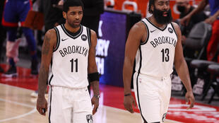 Kyrie Irving (left) and James Harden (right) were unable to stop the Brooklyn Nets from falling to a third straight loss on Tuesday