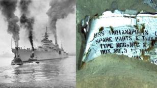 L'USS Indianapolis en 1932 et son épave retrouvée le 19 août 2017.