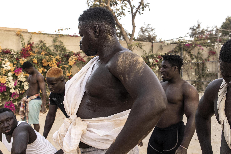 Plusieurs lutteurs sénégalais à l'entraînement.