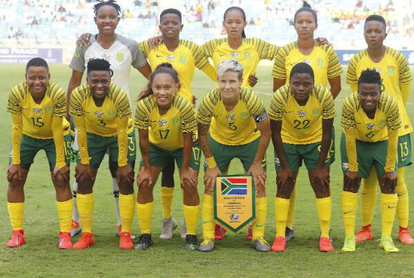 L'équipe d'Afrique du Sud lors d'un match contre la Jamaïque en avril 2019.