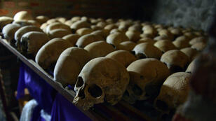Human skulls exhibited at the Genocide memorial in Nyamata, where thousands were slaughtered during the 1994 genocide in Rwanda.