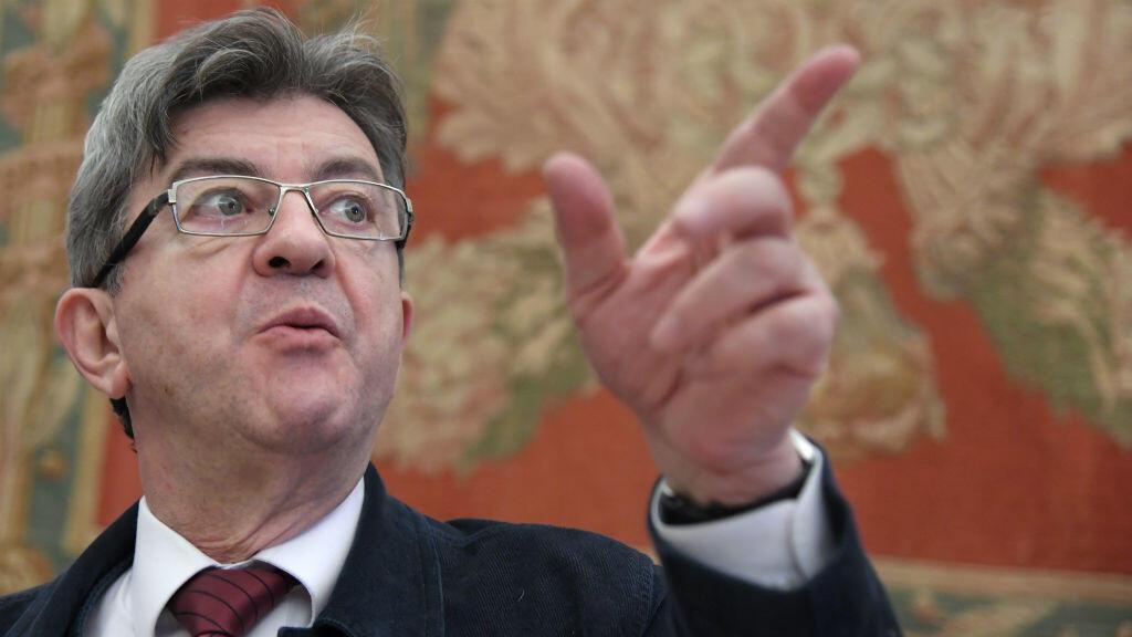 """Jean-Luc Mélenchon, candidat de la """"France insoumise"""", lors du """"sommet du plan B""""  à Rome, le 11 mars 2017."""