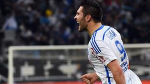 L'attaquant de l'Olympique de Marseille André-Pierre Gignac célèbre son but contre Bordeaux dimanche au stade Vélodrome.