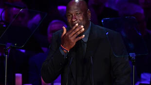 An emotional Michael Jordan speaks during the memorial ceremony at Staples Center in Los Angeles on February 24, 2020.