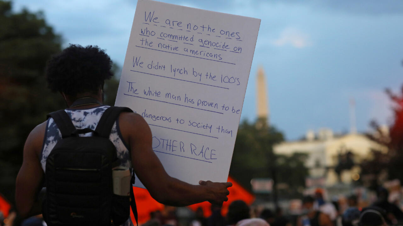 Protesters take part in an anti-police brutality march in front of the White House as racial inequality protests continue in Washington, U.S., June 25, 2020.
