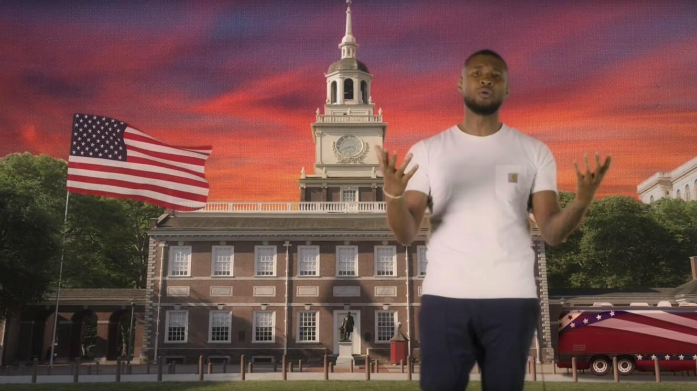 Usher et d'autres artistes tournent un clip parodique contre l'utilisation de leurs chansons par les politiques américains.