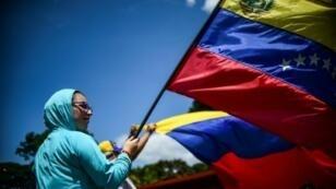 مشاركة في مظاهرة ضد الرئيس الفنزويلي نيكولاس مادورو في كراكاس في 8 آب/أغسطس 2017