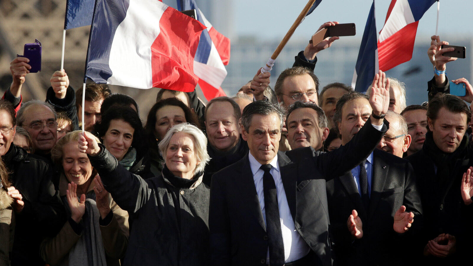 François Fillon and his wife Penelope on the campaign trail.