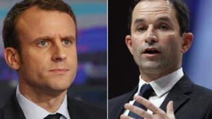 Emmanuel Macron et Benoît Hamon sont tous les deux candidats à la présidentielle française.