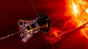 """مسبار الفضاء """"باركر سولار بروب"""" يقترب من الشمس (صورة افتراضية)."""