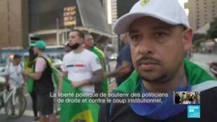2020-06-01 12:10 Brésil : heurts entre partisans et adversaires de Bolsonaro à Sao Paulo