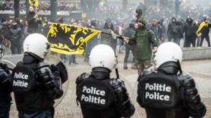 La manifestation contre le Pacte de Marrakech à Bruxelles a été marquée par des heurts avec les forces de l'ordre, le 16 décembre.