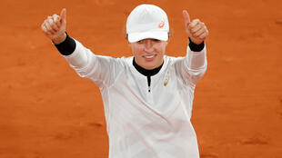 Poland's Iga Swiatek celebrates after winning her quarter-final match against Italy's Martina Trevisan at the French Open – Roland Garros, Paris, France, October 6, 2020.