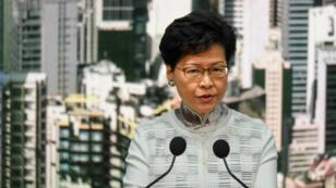 رئيسة هونغ كونغ التنفيذية كاري لام في مؤتمر صحفي 15 حزيران/يوليو 2019