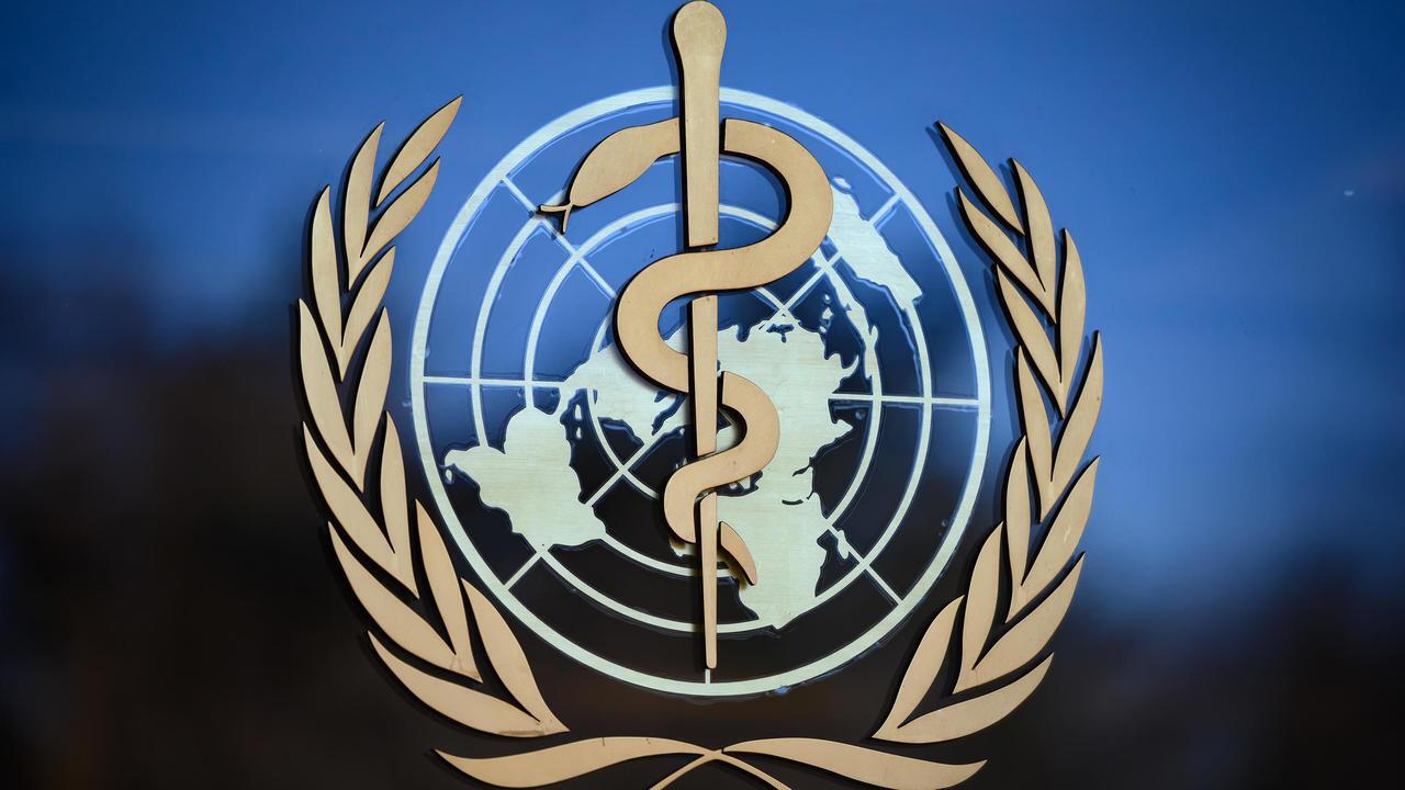 شعار منظمة الصحة العالمية في جنيف في 24 فبراير/شباط 2020.