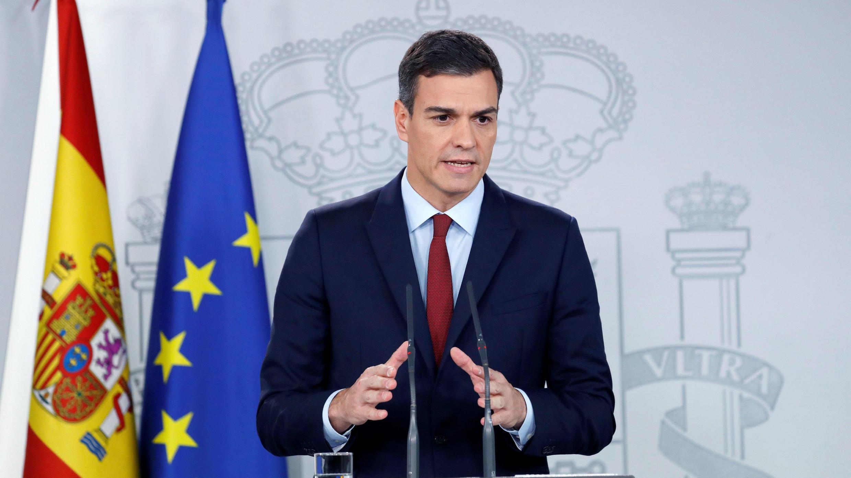 El presidente del Gobierno español, Pedro Sánchez, en comparecencia en el Palacio de la Moncloa, en Madrid, España. 24 de noviembre de 2018.