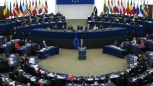 رئيس المفوضية الأوروبية جان كلود يونكر يلقي خطابا عن حال الاتحاد أمام البرلمان الأوروبي في 13 أيلول/سبتمبر 2017