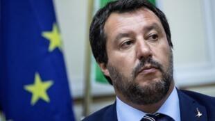 Le ministre italien de l'Intérieur Matteo Salvini lors d'une conférence de presse commune avec le Premier ministre hongrois Viktor Orban, à Milan le 28 août 2018.