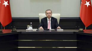 Le président turc Recep Tayyip Erdogan dans le palais présidentiel à Ankara, le 20 juillet 2016.
