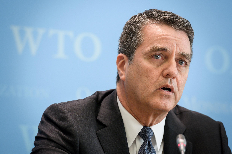 Roberto Azevedo lors d'une conférence de presse à Genève, le 12 avril 2018.