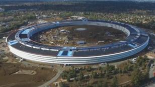 Une vue aérienne du bâtiment principal de l'Apple Campus 2, à Cupertino, en Californie.