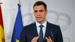 El primer ministro español, Pedro Sánchez, durante la declaración oficial que ofreció sobre la posición del gobierno ante la crisis política en Venezuela, en Madrid, España, el 26 de enero de 2019.