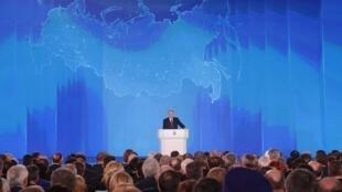 El presidente ruso Putin entrega su discurso anual sobre el estado de la nación a la Asamblea Federal en Moscú.