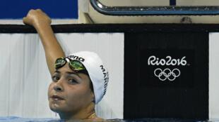 Yusra Mardini, membre de l'équipe olympique des réfugiés, a réalisé le 41e temps des séries du 100 m papillon.