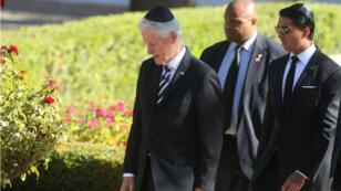 L'ancien président américain Bill Clinton aux obsèques de Shimon Peres, à Jérusalem, le 30 septembre 2016.