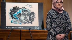 Hatice Cengiz, la fiancée du journaliste assassiné Jamal Khashoggi, au Capitole à Washington, le 3 mars 2020