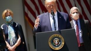 El presidente de Estados Unidos Donald Trump en una rueda de prensa en la Casa Blanca el 15 de mayo de 2020 en Washington