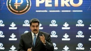 """El presidente venezolano, Nicolás Maduro, durante una conferencia de prensa sobre la criptomoneda """"Petro"""", el 1 de octubre de 2018"""