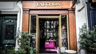 This picture taken on September 8, 2020 shows the exterior of a tea shop 'The et infusion' of French gourmet food company Fauchon in Paris.