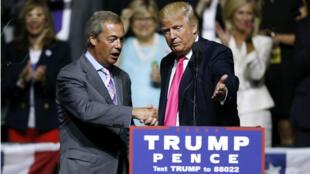L'ex-dirigeant du parti britannique Ukip, Nigel Farage a apporté son soutien au candidat républicain à la présidence américaine, Donald Trump, à Jackson aux États-Unis, le 24 août 2016.