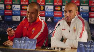 L'entraîneur de l'AS Monaco Leonardo Jardim (à gauche) et le défenseur Aymen Abdennour (à droite).