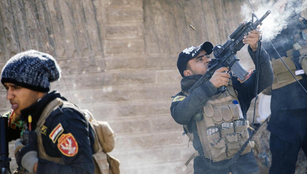 Des membres des forces spéciales irakiennes, le 8 janvier 2017, à Mossoul.