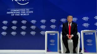 El presidente Donald Trump durante la reunión anual del Foro Económico Mundial en Davos, Suiza, el 26 de enero de 2018.