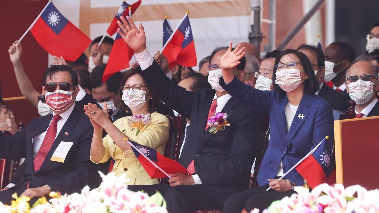 La presidenta de Taiwán, Tsai Ing-wen, durante la celebración del Día Nacional de la isla, en Taipei, el 10 de octubre de 2021.