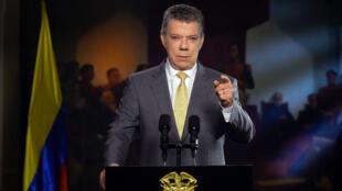 El presidente de Colombia, Juan Manuel Santos, durante la alocución en la que se pronunció sobre el aval de la Corte Constitucional a la Justicia Especial para la Paz el 14 de noviembre.
