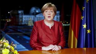 Angela Merkel lors de son allocution télévisée enregistrée mercredi 30 décembre mais diffusée jeudi soir.
