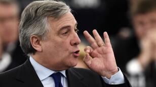Antonio Tajani, membre du PPE (centre droit), est le nouveau président du Parlement européen.