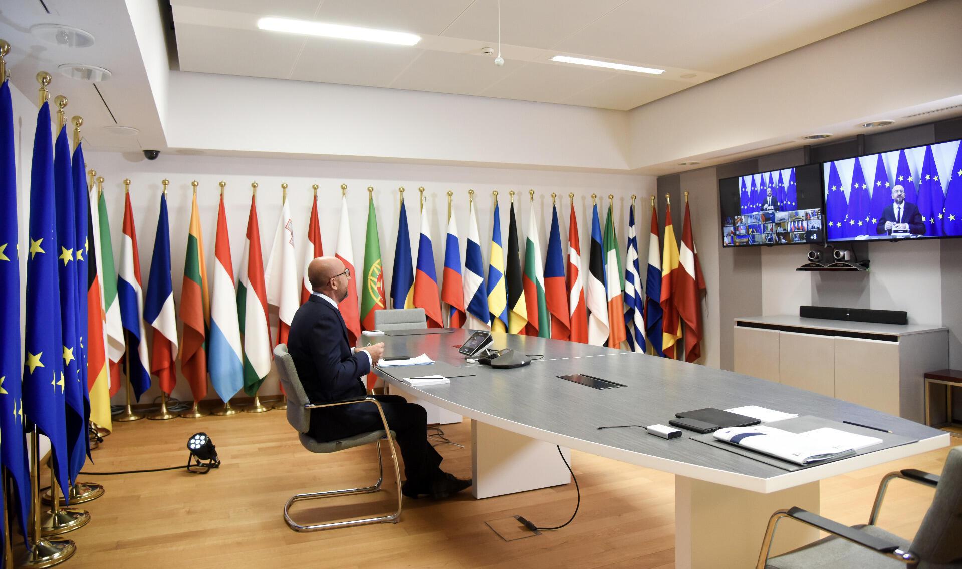 El presidente del Consejo Europeo, Charles Michel, en la cumbre virtual realizada para evaluar las consecuencias de la crisis política en Belarús tras las elecciones.