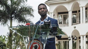 Musician-turned-politician Robert Kyagulanyi, also known as Bobi Wine, speaks during a press conference at his home in Magere, Uganda, on January 15, 2021.