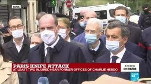 2020-09-25 15:09 French Prime Minister Castex arrives on scene of Paris stabbing