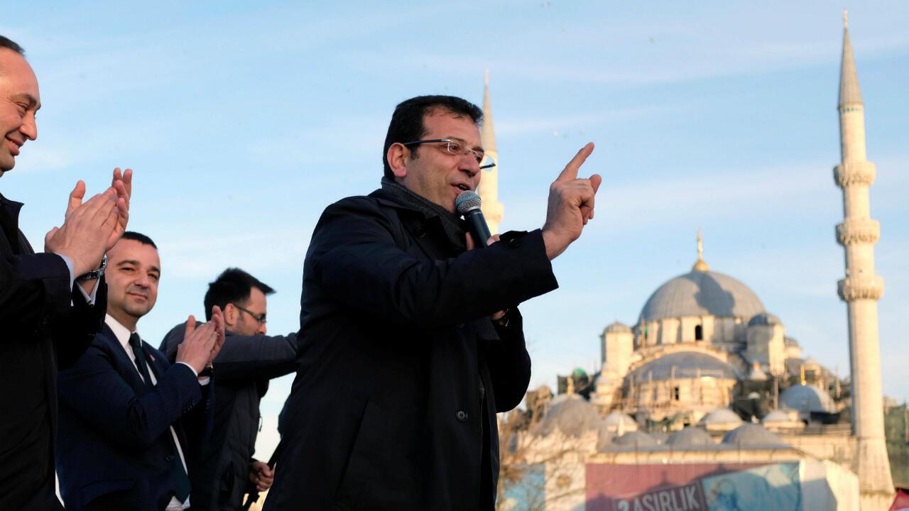 Ekrem Imamoglu lors de la campagne des municipales, le 28 mars 2019 à Istanbul.